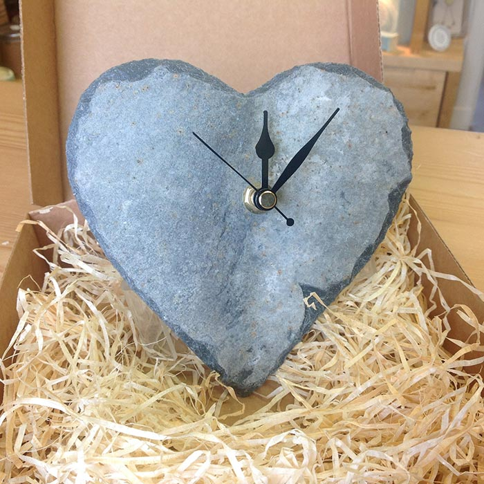 Slate Heart Wall Clock Art Room 59