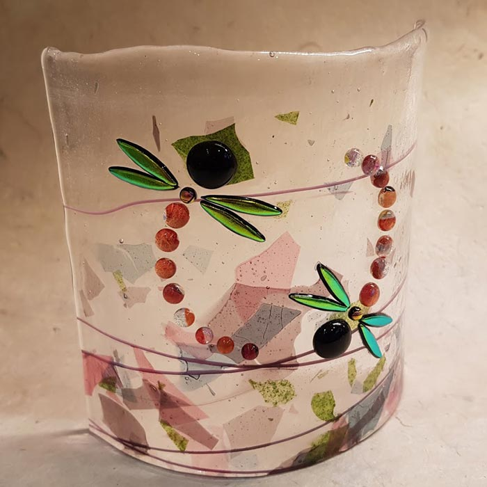 Dragonfly Fused Glass Panel