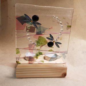Dragonfly Fused Glass Tea Light Holder