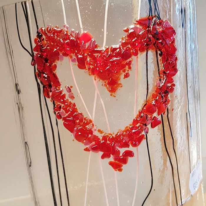 Fused Glass Curved Heart Panel