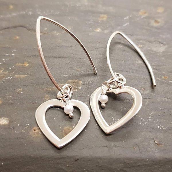 Heart and Pearl Earrings