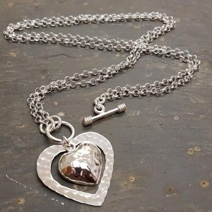 Long/Short Necklace with Double Heart