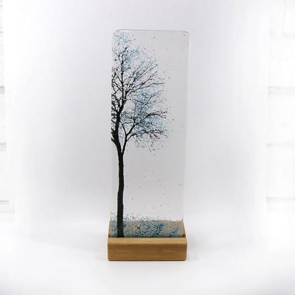 Fused glass panel with tree design