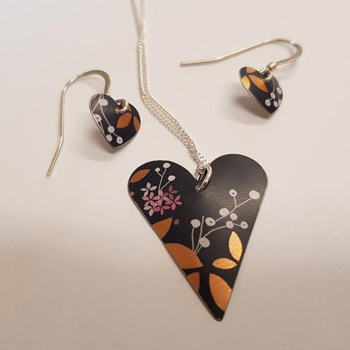 Floral Heart Necklace and Earrings