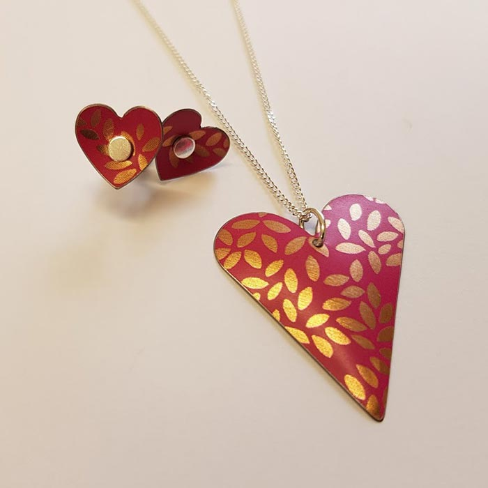 Floral Heart Necklace and Studs
