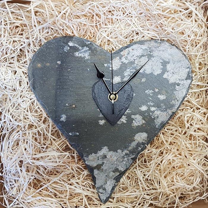 Large Slate Heart Wall Clock