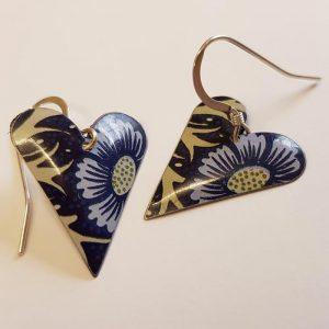 Floral Heart & Crystal Earrings