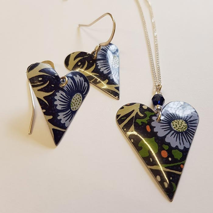 Floral Heart & Crystal Necklace and Earrings