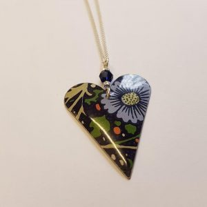 Floral Heart & Crystal Necklace