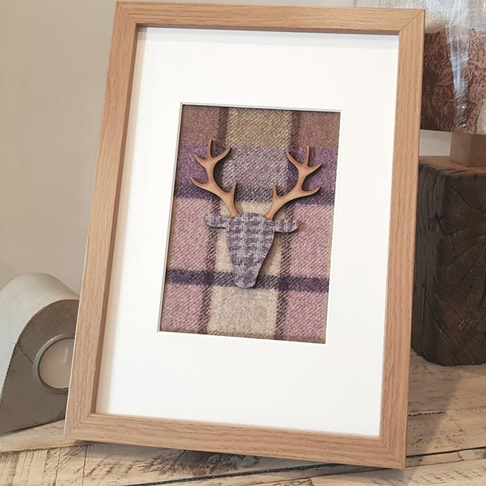 Stag Picture Mauve Tweed