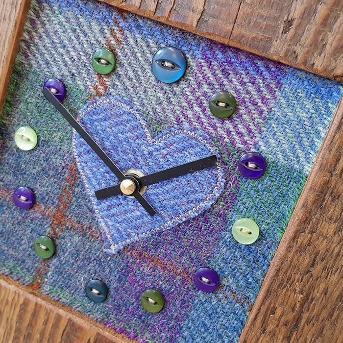 Mixed Harris Tweed Blues Heart Face Clock