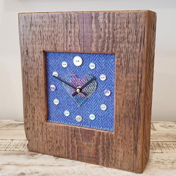 Harris Tweed Blue Herringbone Heart Face Clock