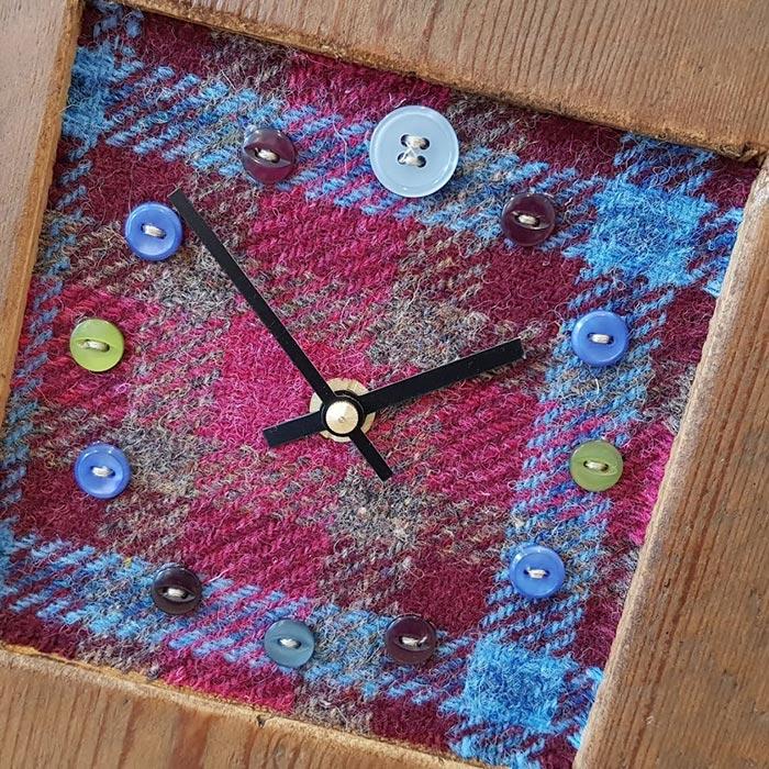 Mixed Harris Tweed Blue Plumb Plain Face Clock
