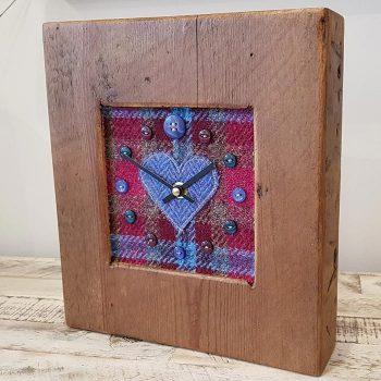 Harris Tweed Blue Plumb Heart Face Clock