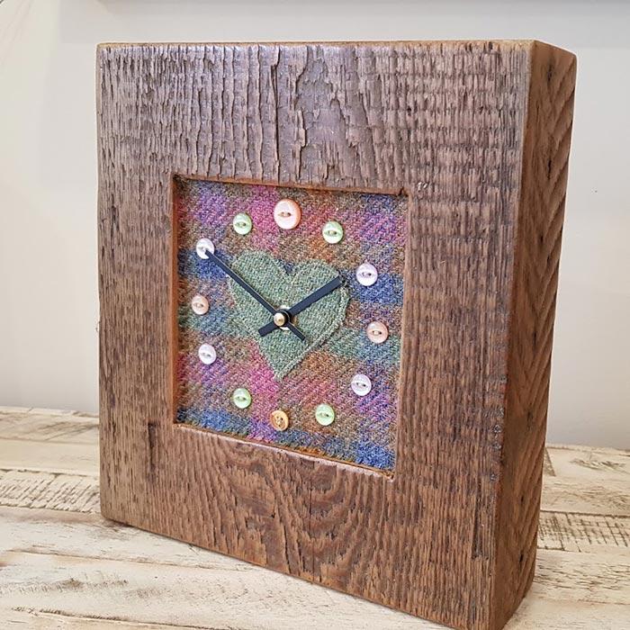 Mixed Harris Tweed Sage Coral Heart Face Clock