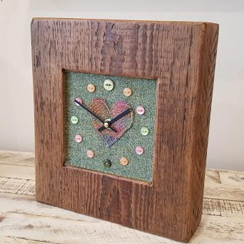 Mixed Harris Tweed Sage Heart Face Clock