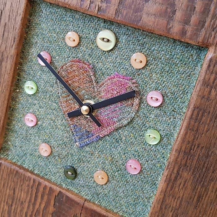 Mixed Harris Tweed Sage Heart Face Clock