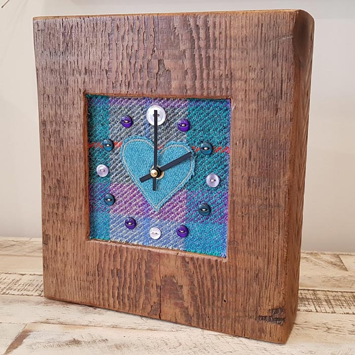Harris Tweed Teal Check Heart Face Clock