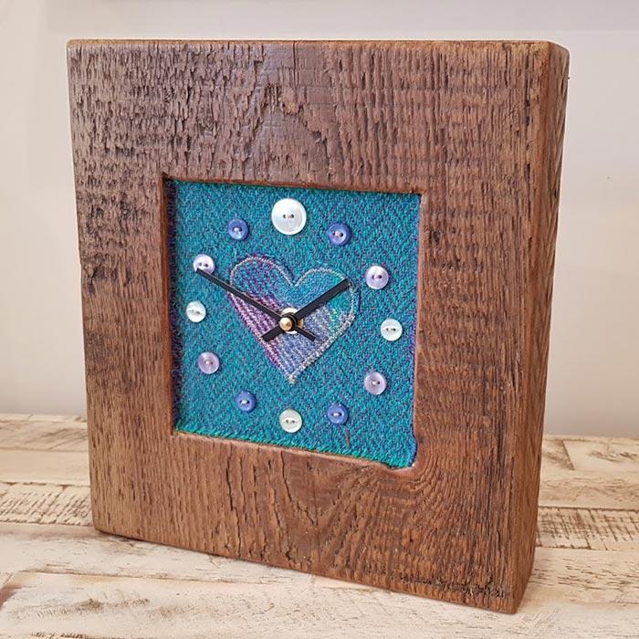 Harris Tweed Teal Herringbone Heart Face Clock