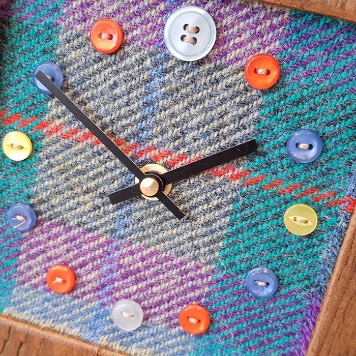 Mixed Harris Tweed Teal Plain Face Clock