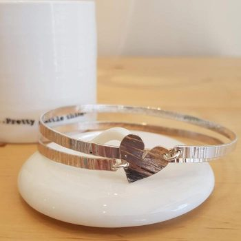 Silver Double Spiral with Heart Bangle