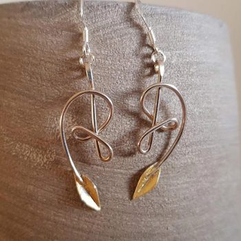 Silver Knot and Leaf Earrings