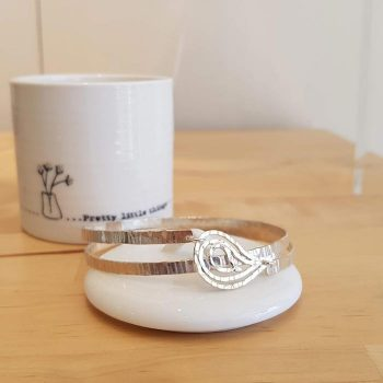 Silver Double Spiral Bangle with Paisley Design