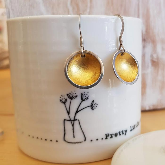 Silver Dome With Gold Leaf Earrings