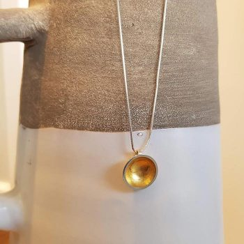 Silver Dome With Gold Leaf Necklace