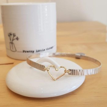 Silver Bangle with Gold Heart Detail