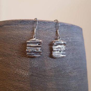 Silver Cast Willow Earrings