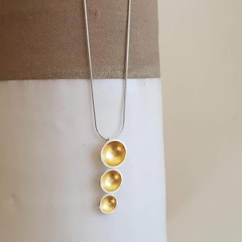 Silver Triple Dome With Gold Leaf Necklace
