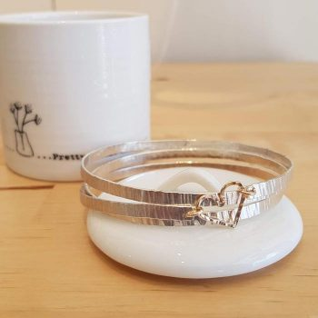 Silver Triple Spiral Bangle with Gold Heart