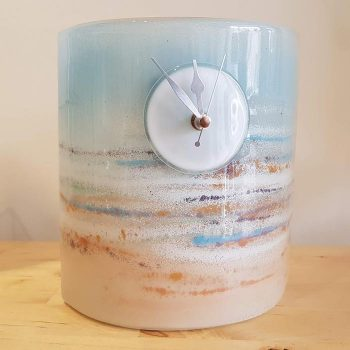 Fused Glass Clock with Seascape Design