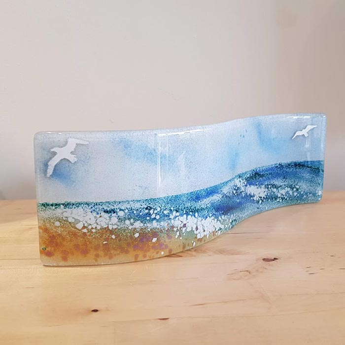 Fused Glass Curved Panel with Seascape Design