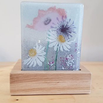 Fused Glass Tea Light Holder With Daisy Design