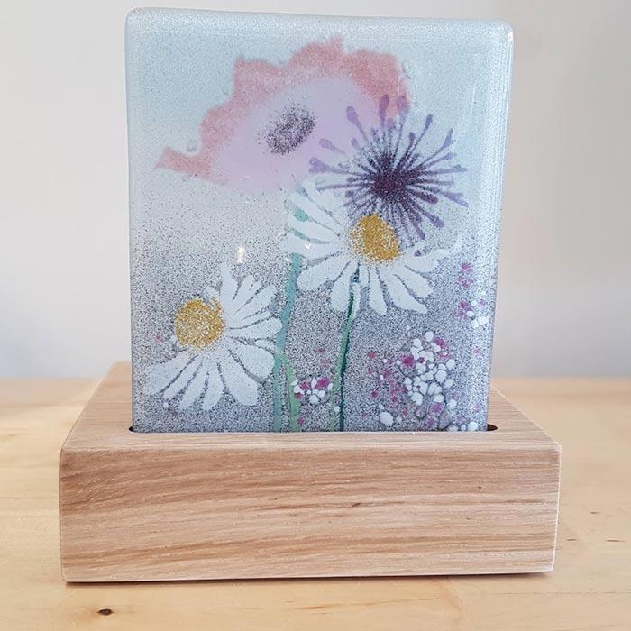 Fused Glass Tea Light Holder With Daisy Design