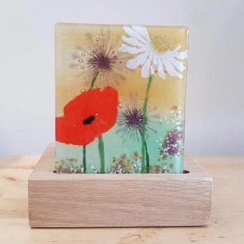 Fused Glass Tea Light Holder with Wild Flower Design