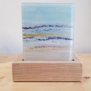 Fused Glass Tea Light Holder Seascape Design