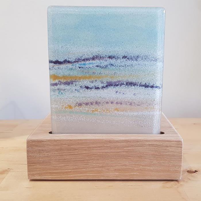 Fused Glass Tea Light Holder Seascape Design