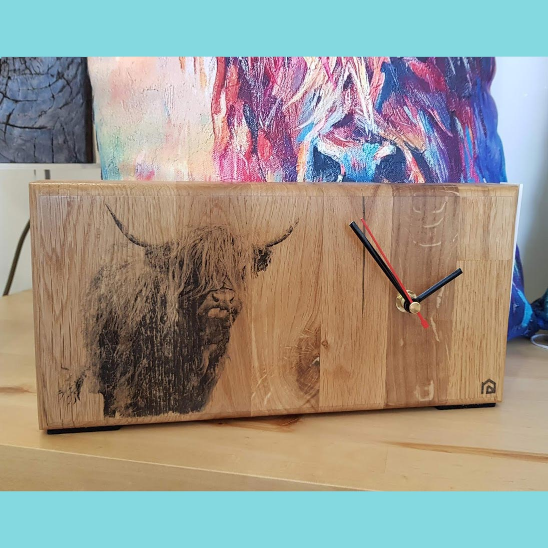 Oak wall clock with Highland Cow print