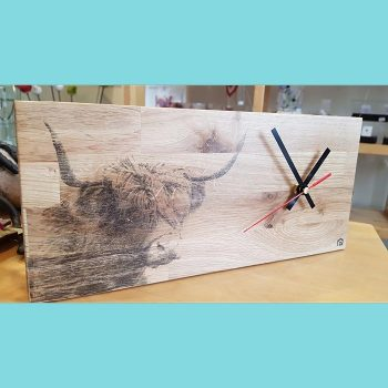 Oak wall clock with Highland Cow head print