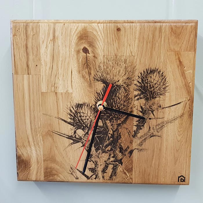 Oak wall clock with Thistle print