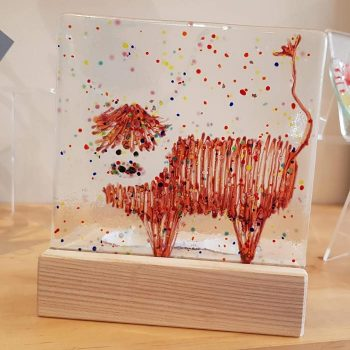 Fused Glass Tea Light Holder with Highland Cow