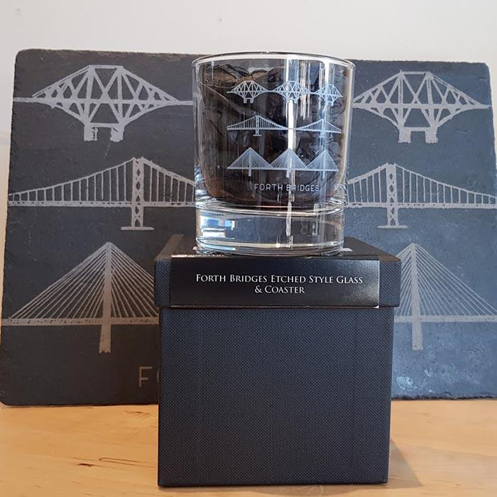 Forth Bridges Whisky Glass with Slate Coaster Gift Set