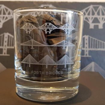 Forth Bridges Whisky Glass with Slate Coaster Gift Set