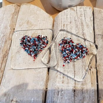 Set of Two Fused Glass Heart Motif Coasters