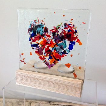 Fused Glass Tea Light Holder with Heart Motif
