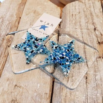 Set of Two Fused Glass Star Motif Coasters
