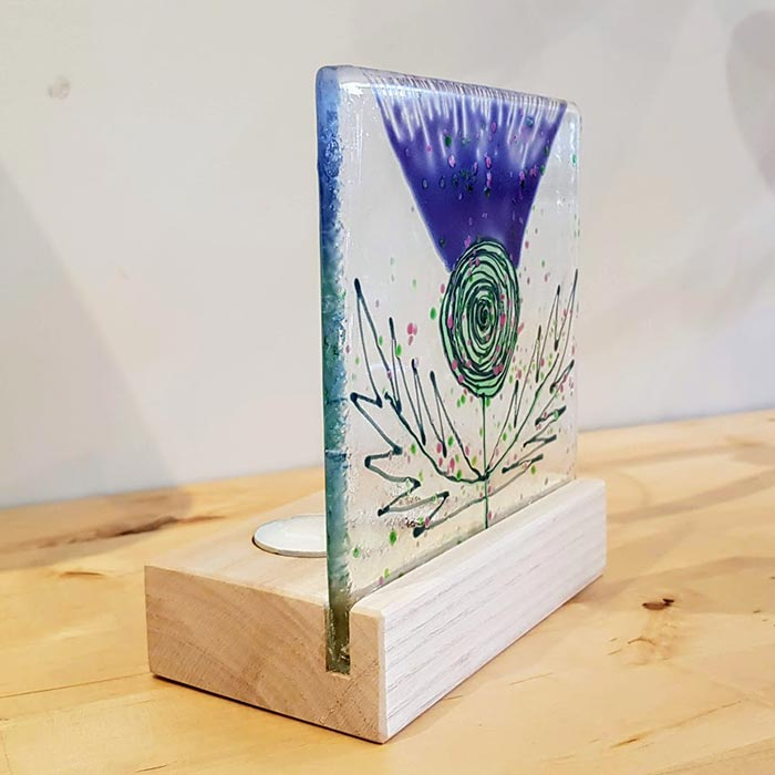 Fused Glass Tea Light Holder with Thistle Motif